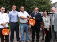 Kieran Egan, Director of Safety-Tec presenting Ignacio Peregrina, General Manager and Staff Members of the Jameson Experience, Cork with a new IPAD AED along with representatives of Phoenix Safety